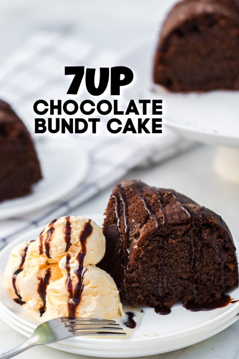 7up chocolate bundt cake with vanilla ice cream on white plate