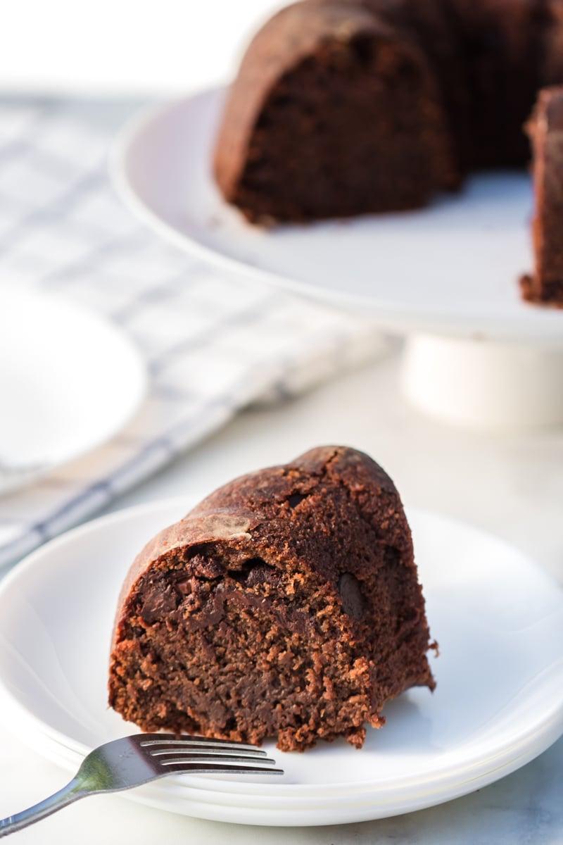 slice of chocolate pound cake on white plate