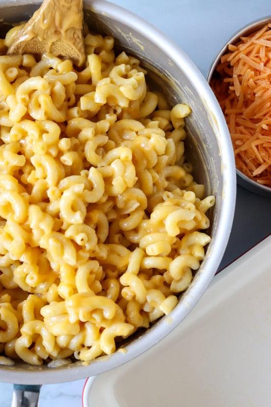 overhead shot of a pot of macaroni noodles