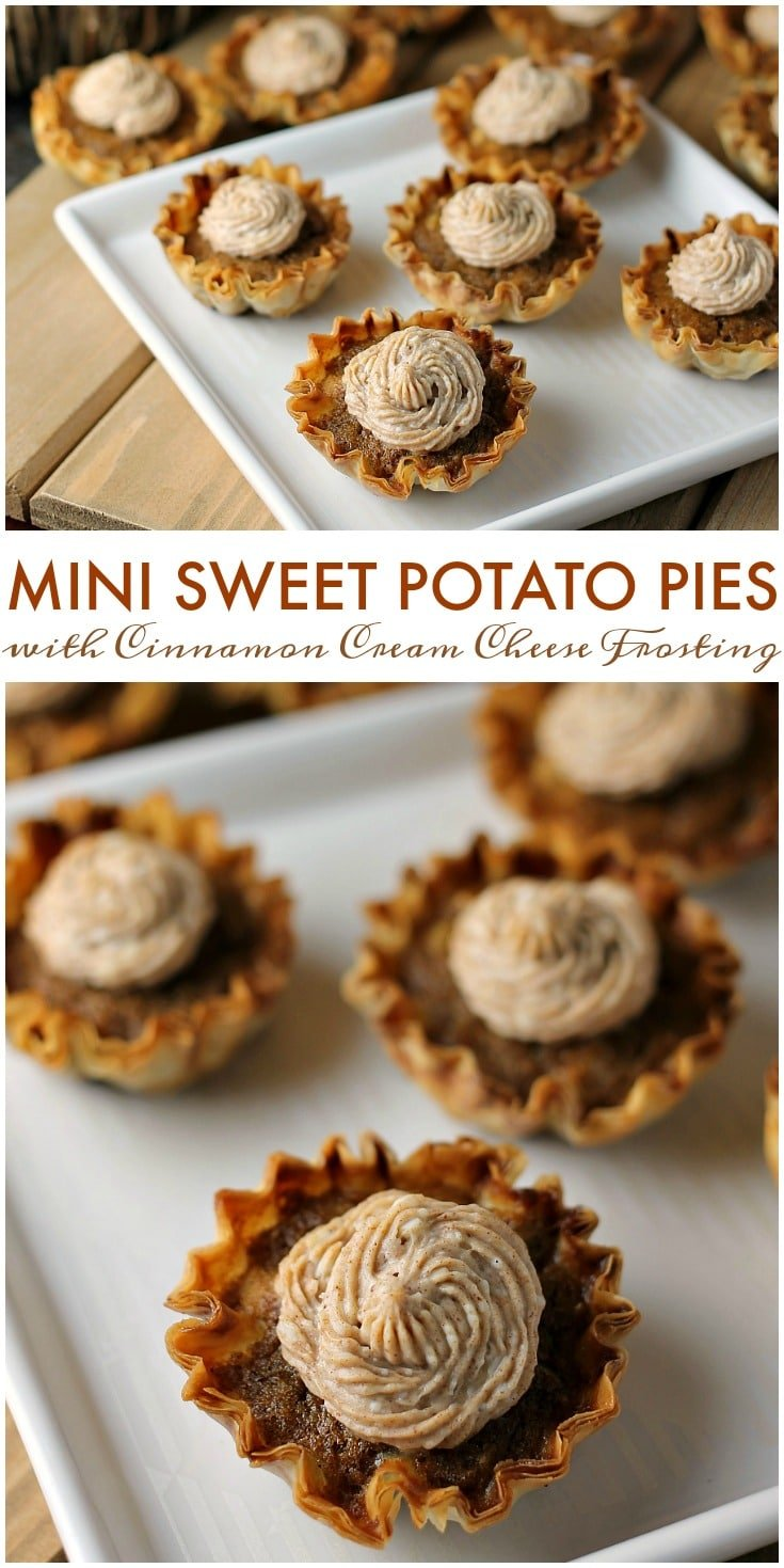 Mini Sweet Potato Pies with Cinnamon Cream Cheese Frosting are super easy to make but look fancy. Impress your guests with these bite sized treats! | www.persnicketyplates.com #pie #sweetpotatopie #thanksgiving #minidessert #dessert