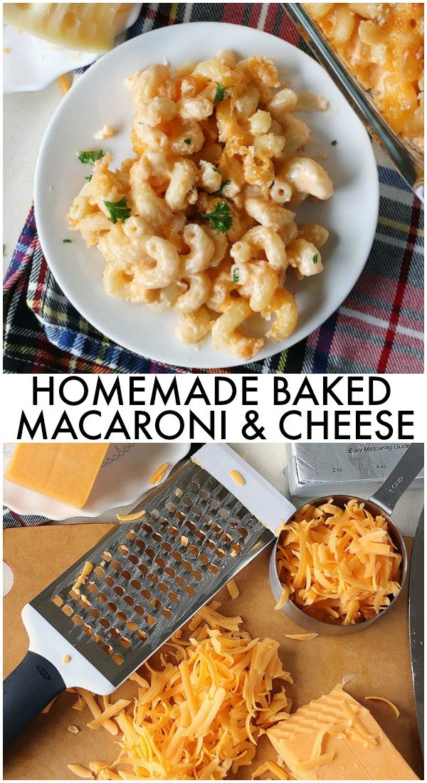 Homemade Baked Macaroni and Cheese is a delicious, super rich, five cheese baked macaroni and cheese. This copycat steakhouse macaroni and cheese is fancy enough to serve to guests for holidays, but so delicious, you'll want to make this mac and cheese recipe every day! | www.persnicketyplates.com #macaroniandcheese #macandcheese #cheese #comfortfood #pasta