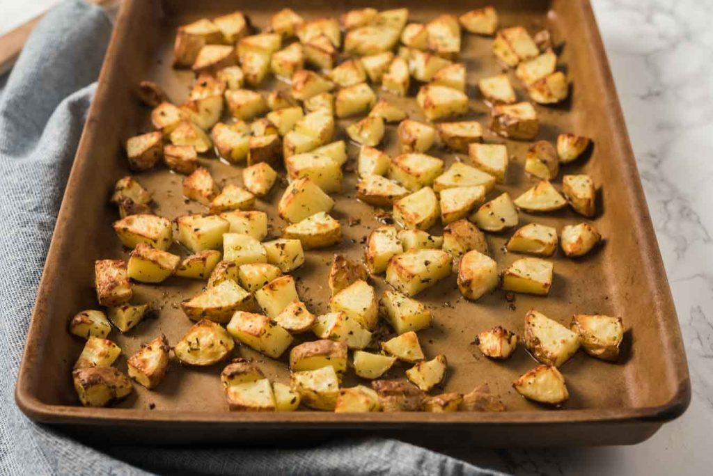 roasted potatoes on baking sheet