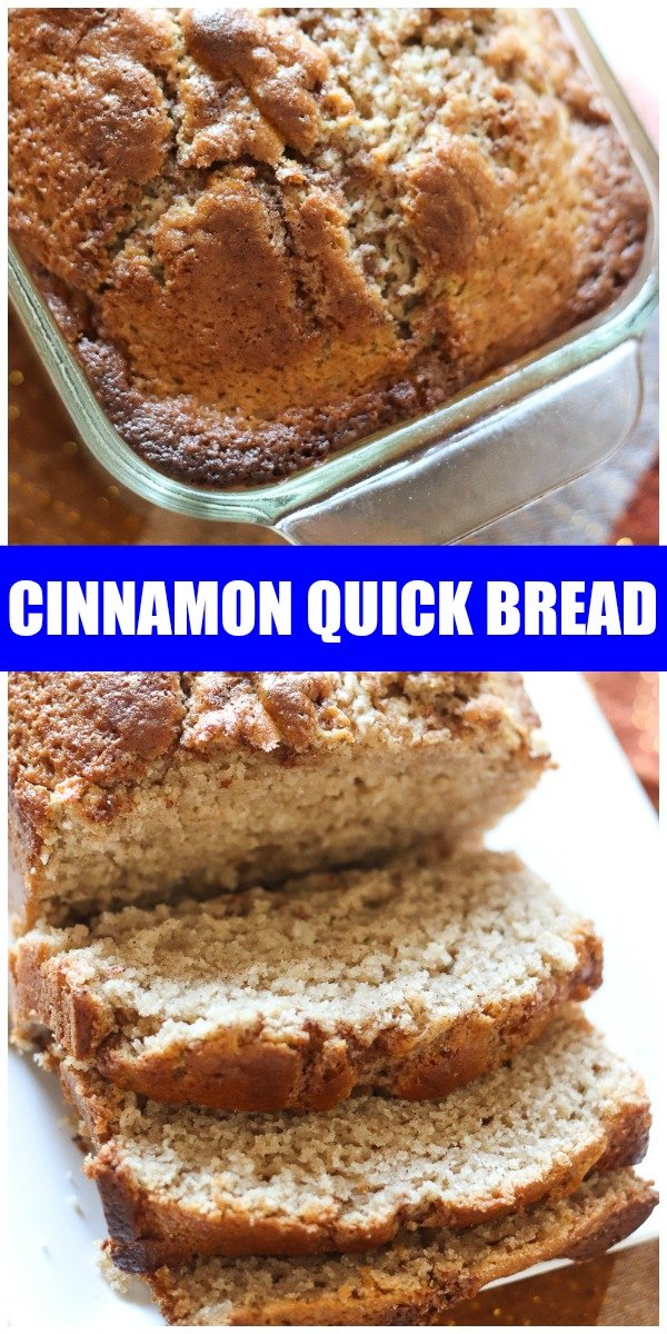 Cinnamon Quick Bread could be called Cinnamon VERY Quick Bread! A simple, from scratch quick bread topped with a cinnamon streusel swirl. | www.persnicketyplates.com