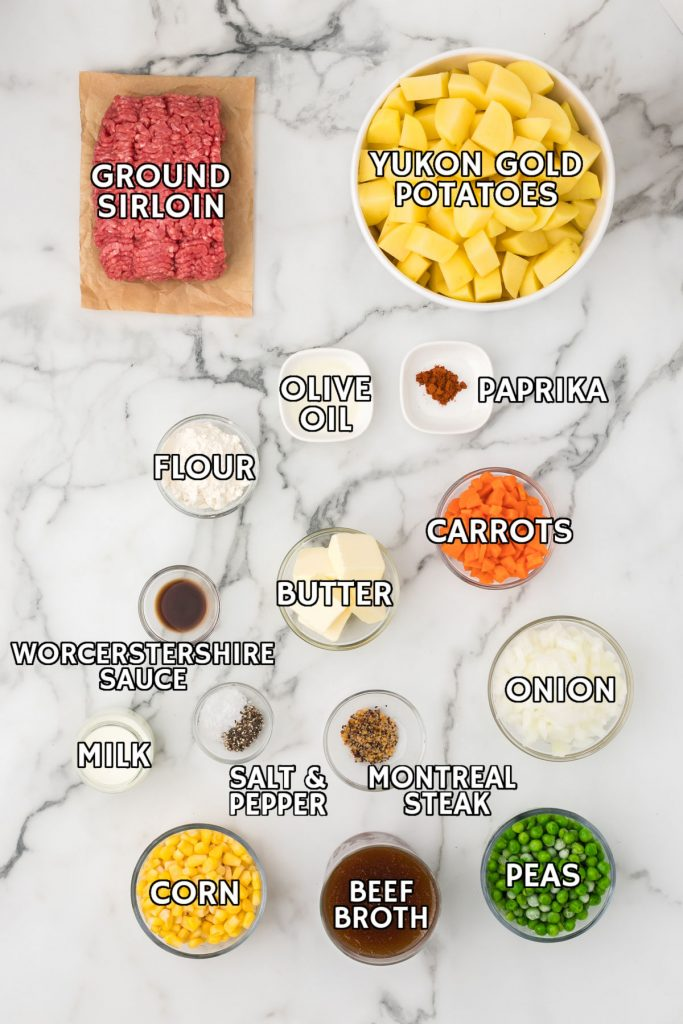 overhead shot of ingredients laid out to make shepherd's pie with beef
