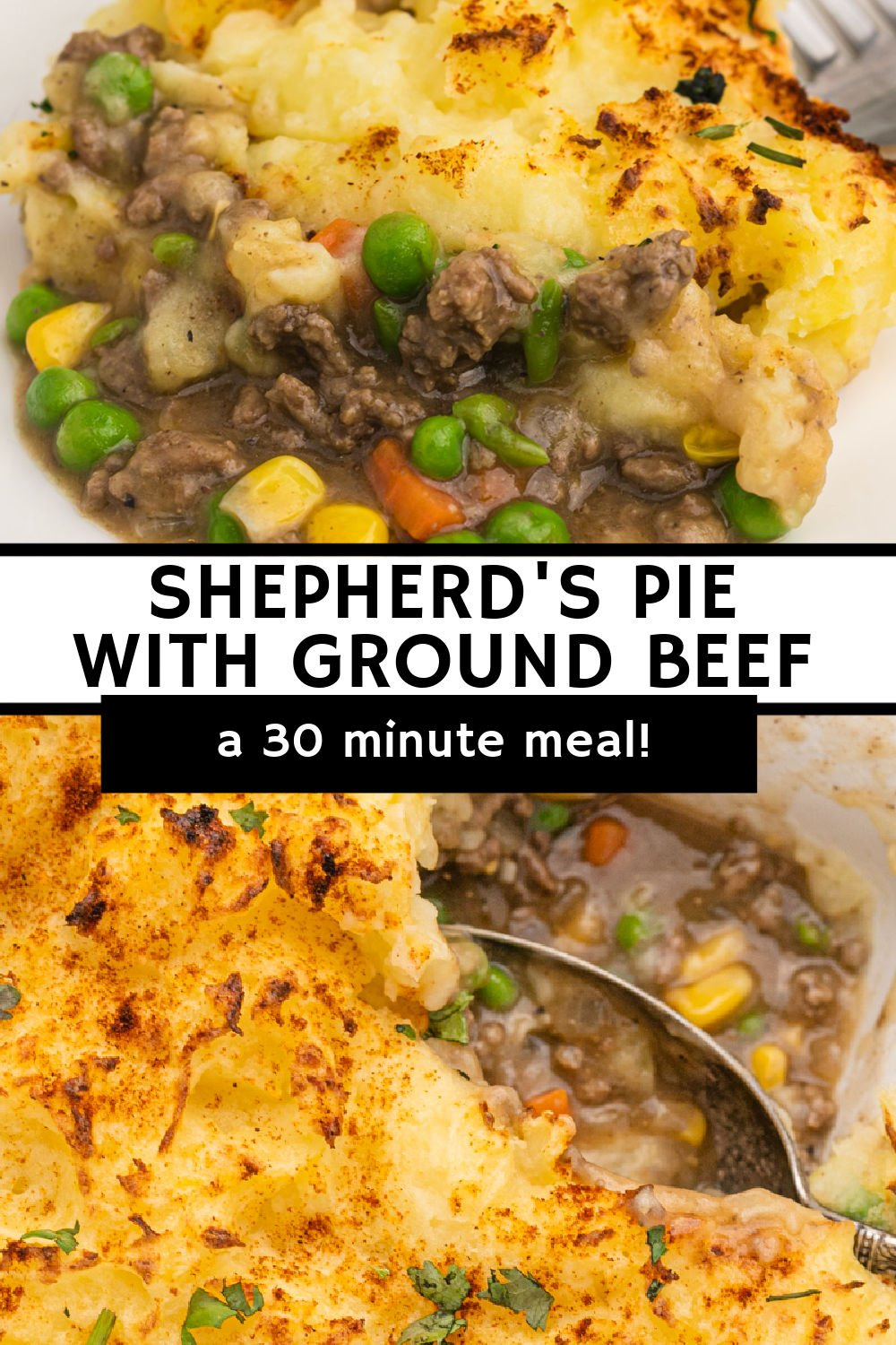 This easy Shepherd's Pie is made with beef (sometimes called Cottage Pie) and will be ready in just about 30 minutes. A layer of ground beef mixed with a flavorful, veggie-filed gravy and topped with mashed potatoes is comfort food at its finest. | www.persnicketyplates.com