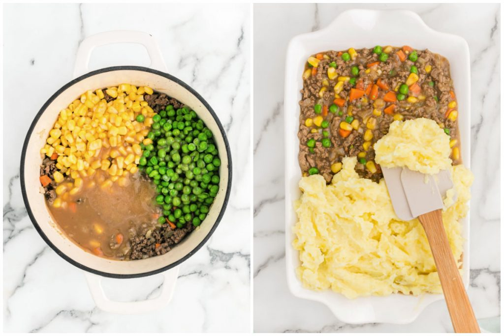 collage of photos showing gravy in pan and shepherd's pie in casserole dish