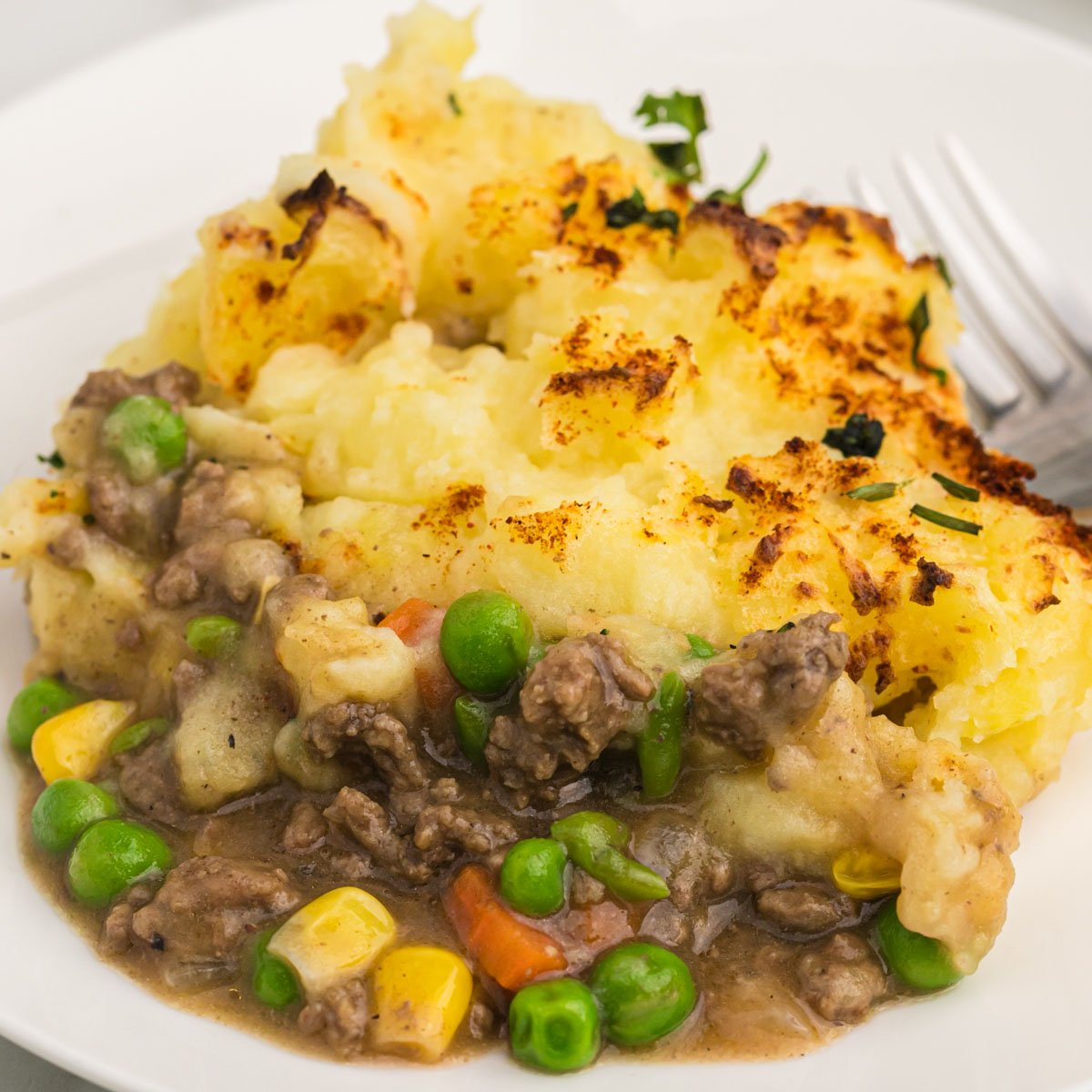 a plate of shepherd's pie made with beef