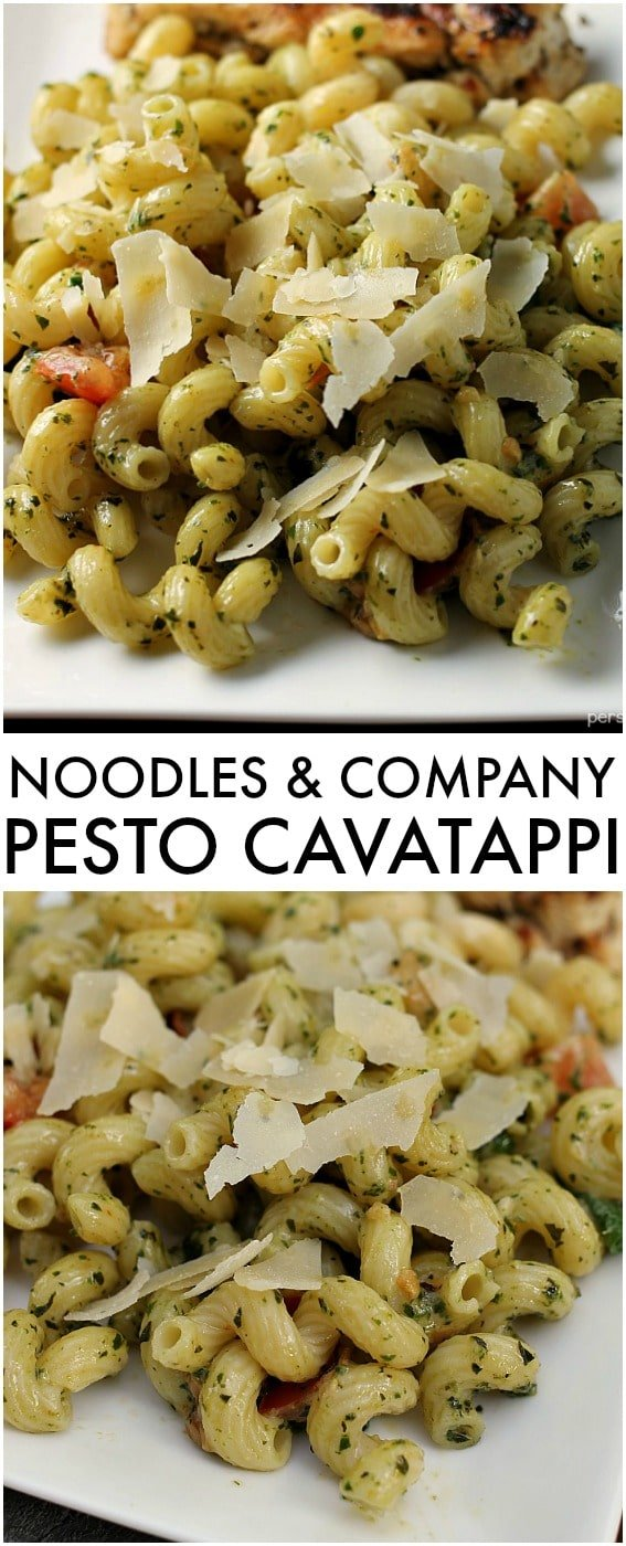 Homemade Noodles & Company Pesto Cavatappi is the perfect copycat version made right in your own kitchen! Making pesto is probably easier than you think! | Persnickety Plates