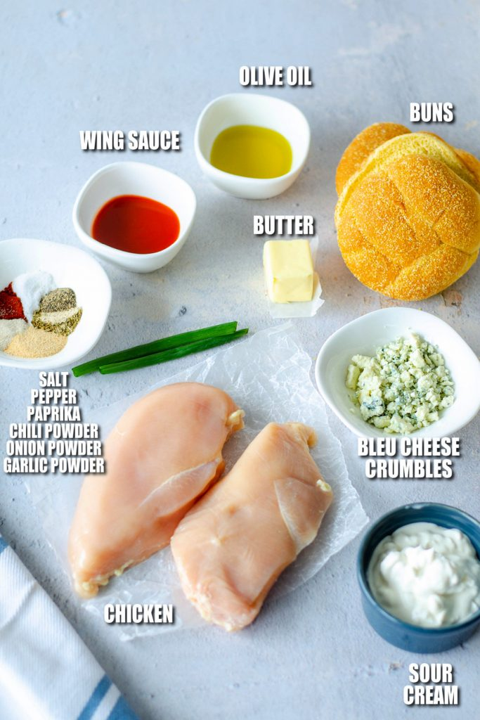 overhead shot of ingredients laid out to make chicken sandwiches