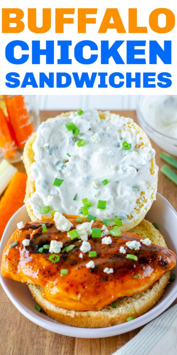 Spicy hot buffalo chicken sandwiches topped with a cool and creamy bleu cheese sauce. This easy recipe makes a great weeknight dinner but also perfect for a game day sandwich! | www.persnicketyplates.com