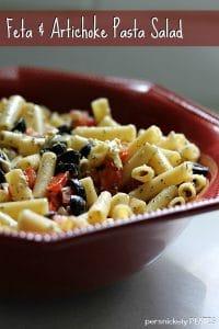 Feta Artichoke Pasta Salad » Persnickety Plates