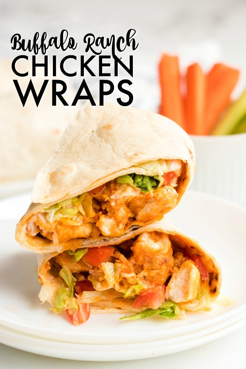 sliced & stacked buffalo ranch chicken wrap on white plate