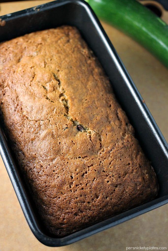 full loaf of paula deen zucchini bread in loaf pan