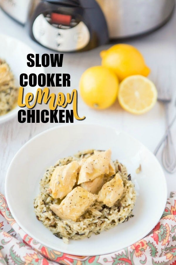 lemon chicken on wild rice with lemons & slow cooker in background