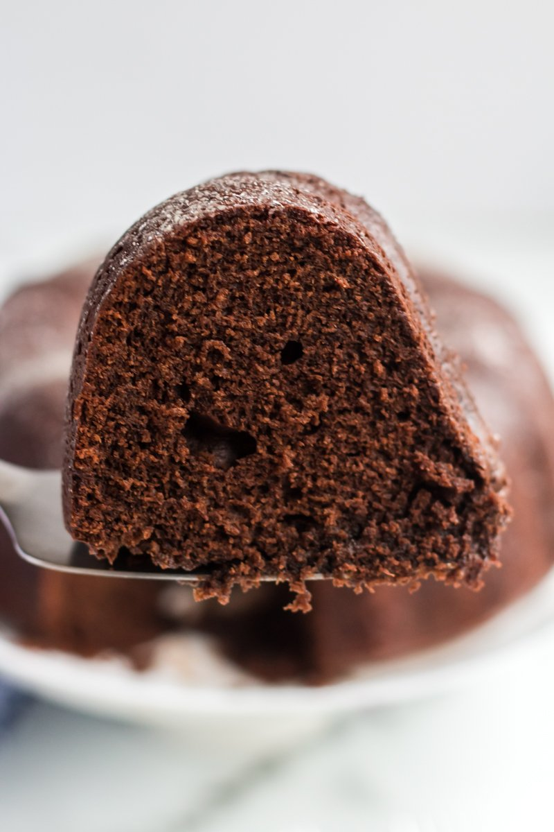slice of williams sonoma sour cream chocolate bundt cake on serving knife