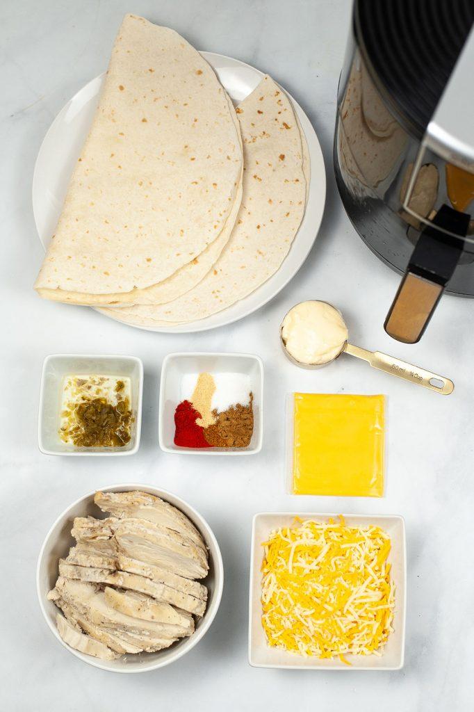 overhead shot of ingredients to make copycat taco bell quesadillas