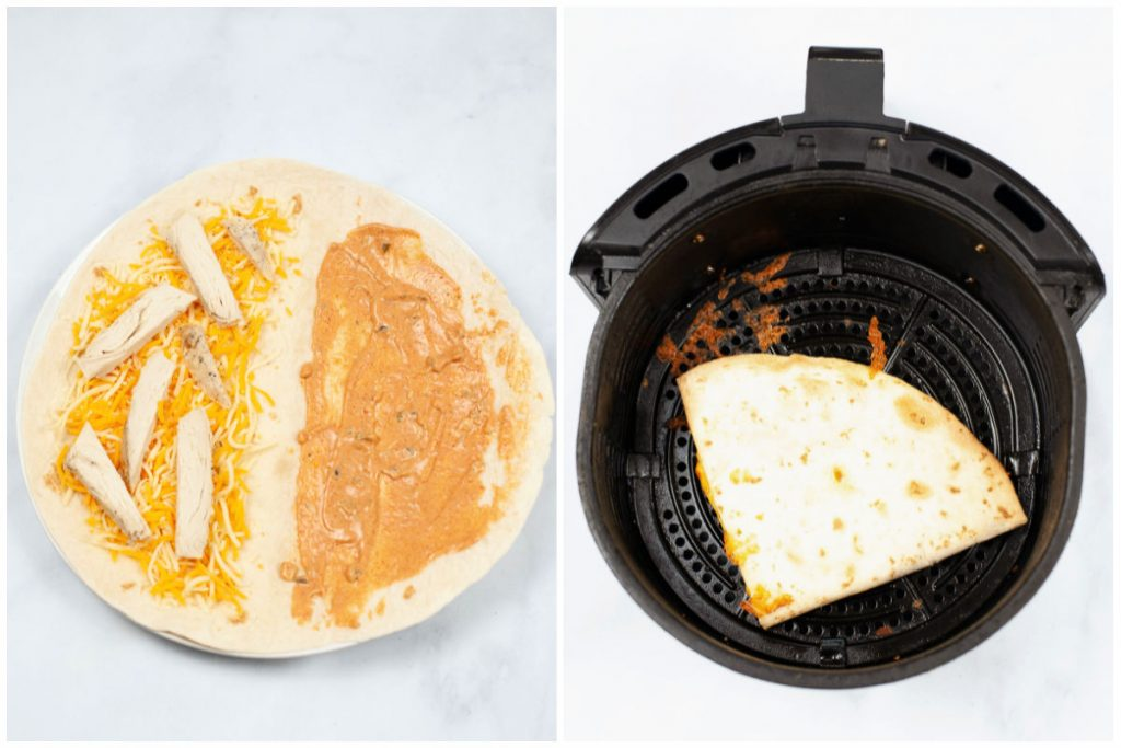 collage showing assembling a quesadilla then in the air fryer basket