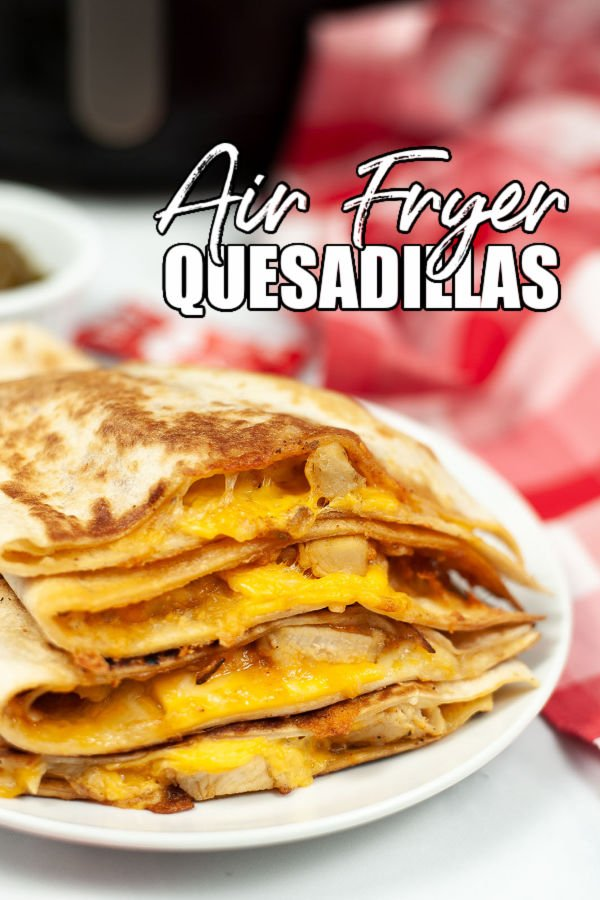 chicken & cheese quesadilla on a white plate