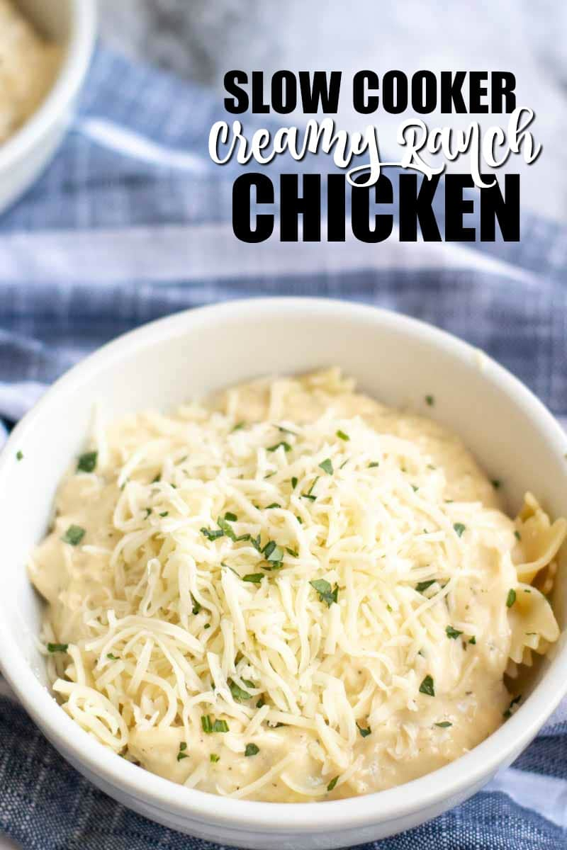 Six ingredient, very simple Slow Cooker Creamy Ranch Chicken can quickly be thrown together in the crock pot for a meal the whole family will love! | www.persnicketyplates.com