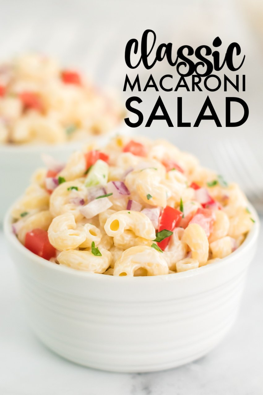 traditional macaroni salad in white bowl