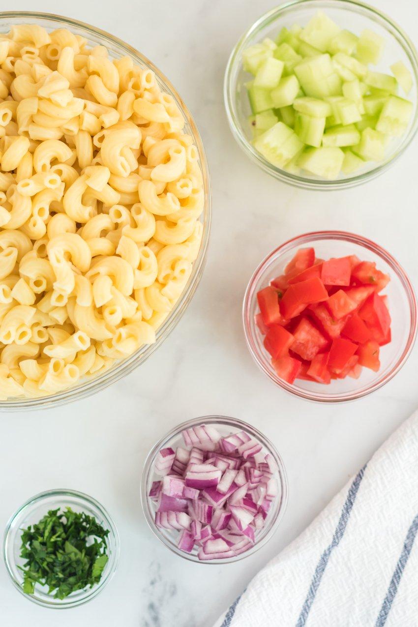 mise en place of macaroni salad ingredients