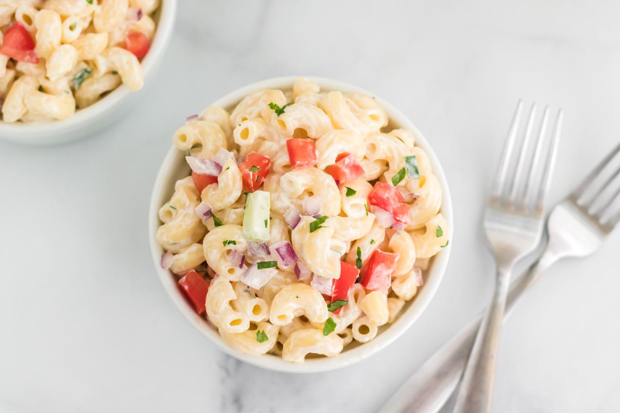 overhead shot of bowl of macaroni salad