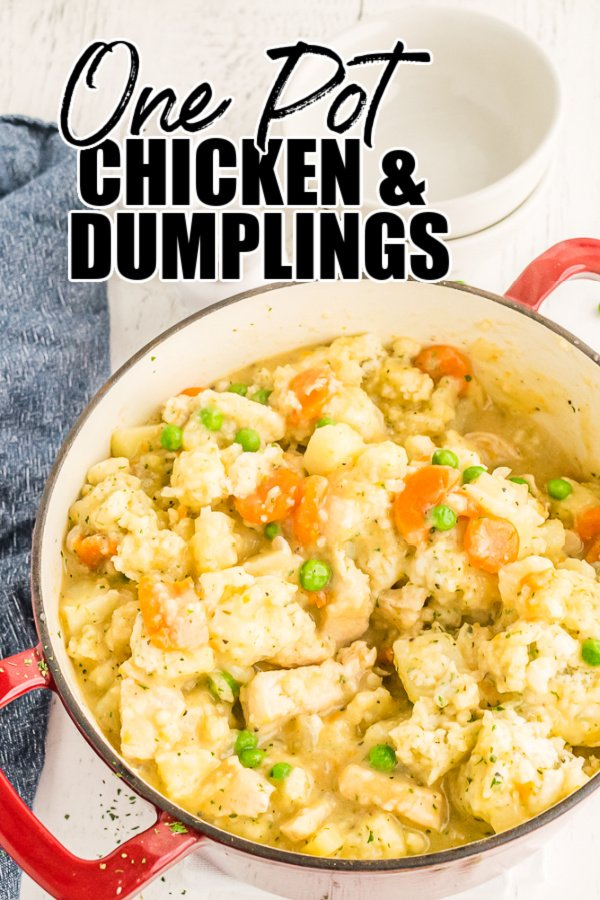 pot of chicken and dumplings with text overlay