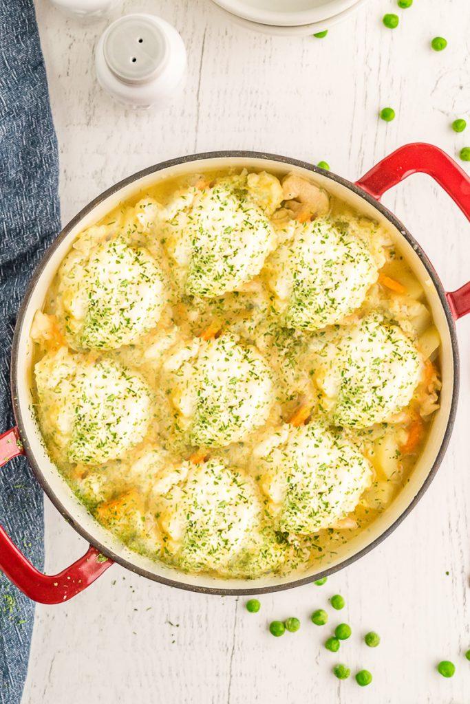 overhead shot of dumplings in pot