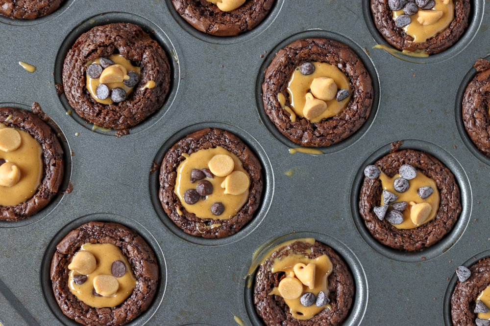 muffin pan filled with brownie bites