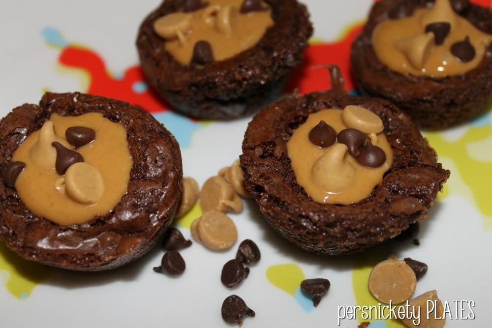 Peanut Butter Brownie Bites couldn't be easier - jazz up your favorite boxed brownie mix with peanut butter to make these bite sized treats. | Persnickety Plates