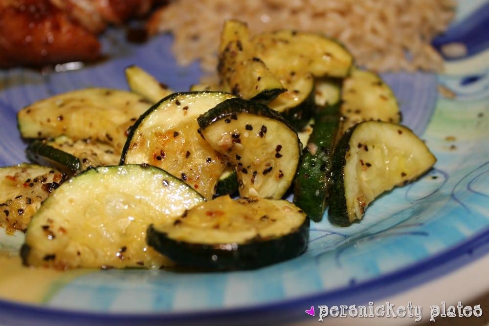 seasoned roasted zucchini on dinner plate