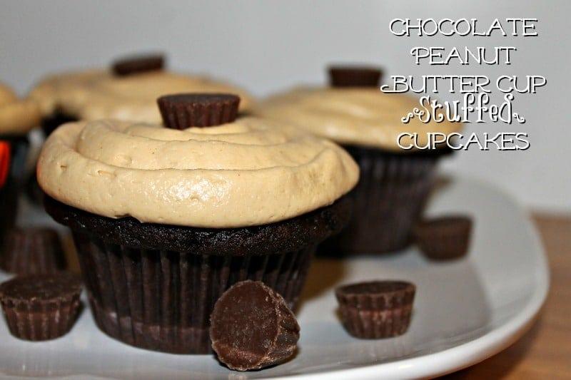 Chocolate Peanut Butter Cup Stuffed Cupcakes