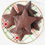 plate of star shaped chocolate shortbread cookies