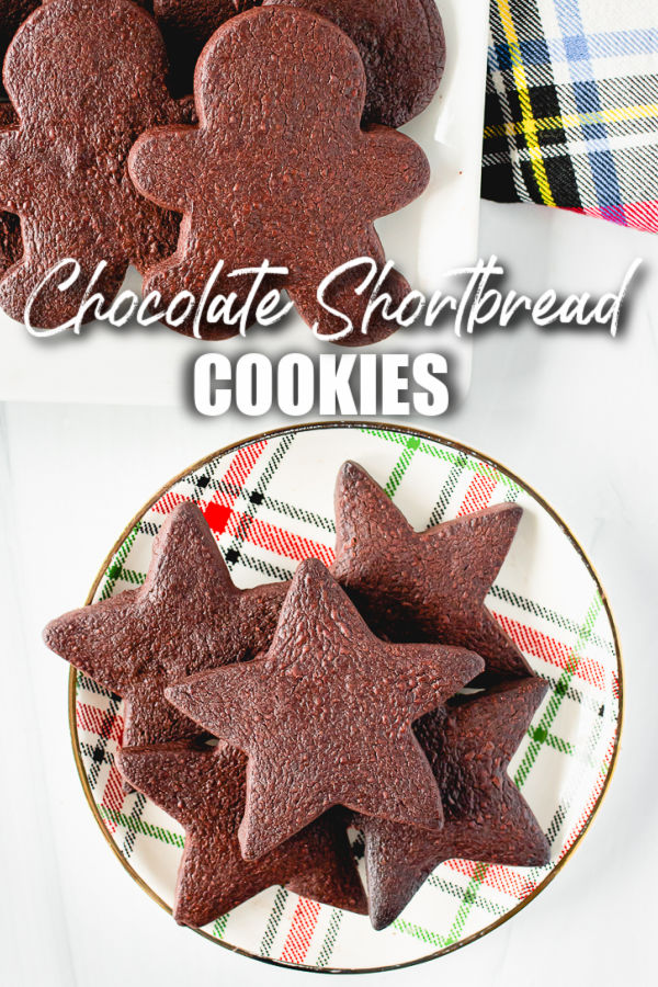 plate of chocolate cookies with text overlay reading chocolate shortbread cookies