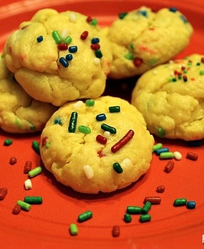 Cream Cheese Sprinkle Cookies - 6 ingredient, semi-homemade, DELICIOUS. | Persnickety Plates