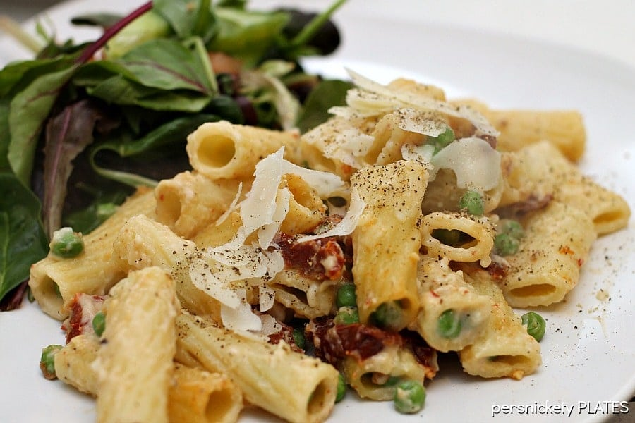Baked Rigatoni with Sun Dried Tomatoes & Peas   Persnickety Plates