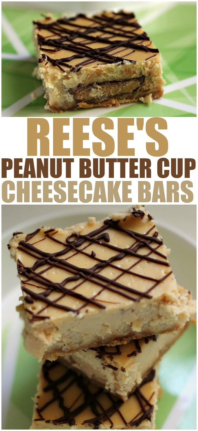 Reese's Peanut Butter Cup Cheesecake Bars - stuffing peanut butter cups into cheesecake bars then drizzling them with chocolate is always a good idea! | www.persnicketyplates.com
