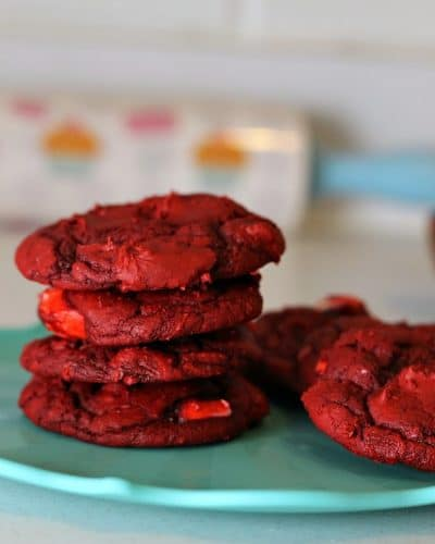 Red Velvet Cream Cheese Swirl Cookies | Persnickety Plates