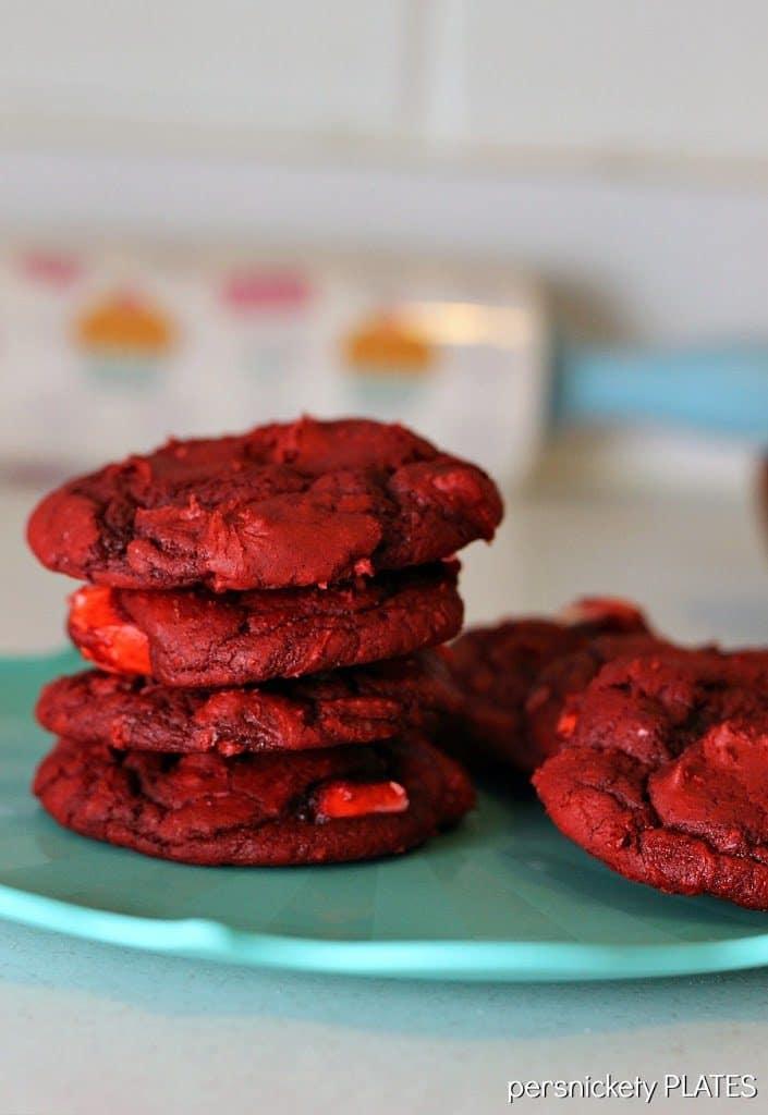 Red Velvet Cream Cheese Swirl Cookies