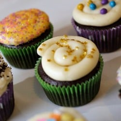 Chocolate Cupcakes Filled with Vanilla Buttercream are delicious, moist chocolate cupcakes topped stuffed and topped with a fluffy vanilla buttercream frosting.   Persnickety Plates