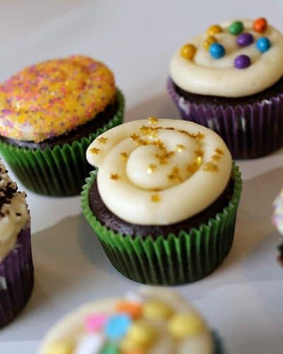 Chocolate Cupcakes Filled with Vanilla Buttercream are delicious, moist chocolate cupcakes topped stuffed and topped with a fluffy vanilla buttercream frosting. | Persnickety Plates