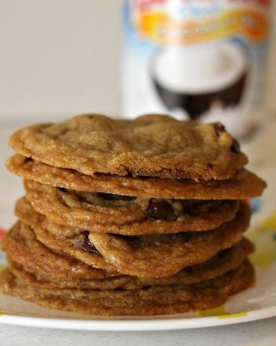Coconut Oil Dark Chocolate Chip Cookies are easily one of my top 10 favorite cookies! These soft and chewy cookies are perfect with rich dark chocolate chips and a crispy outer edge.