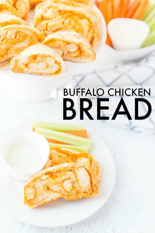 Buffalo Chicken Bread is easy to make at home & better than take-out! Stuffed bread recipes make the perfect weeknight dinner, and they're great for serving at parties or as game day snack food. This easy stuffed bread recipe makes pizza dough stuffed with spicy Buffalo chicken and cheese. SO delicious! | www.persnicketyplates.com
