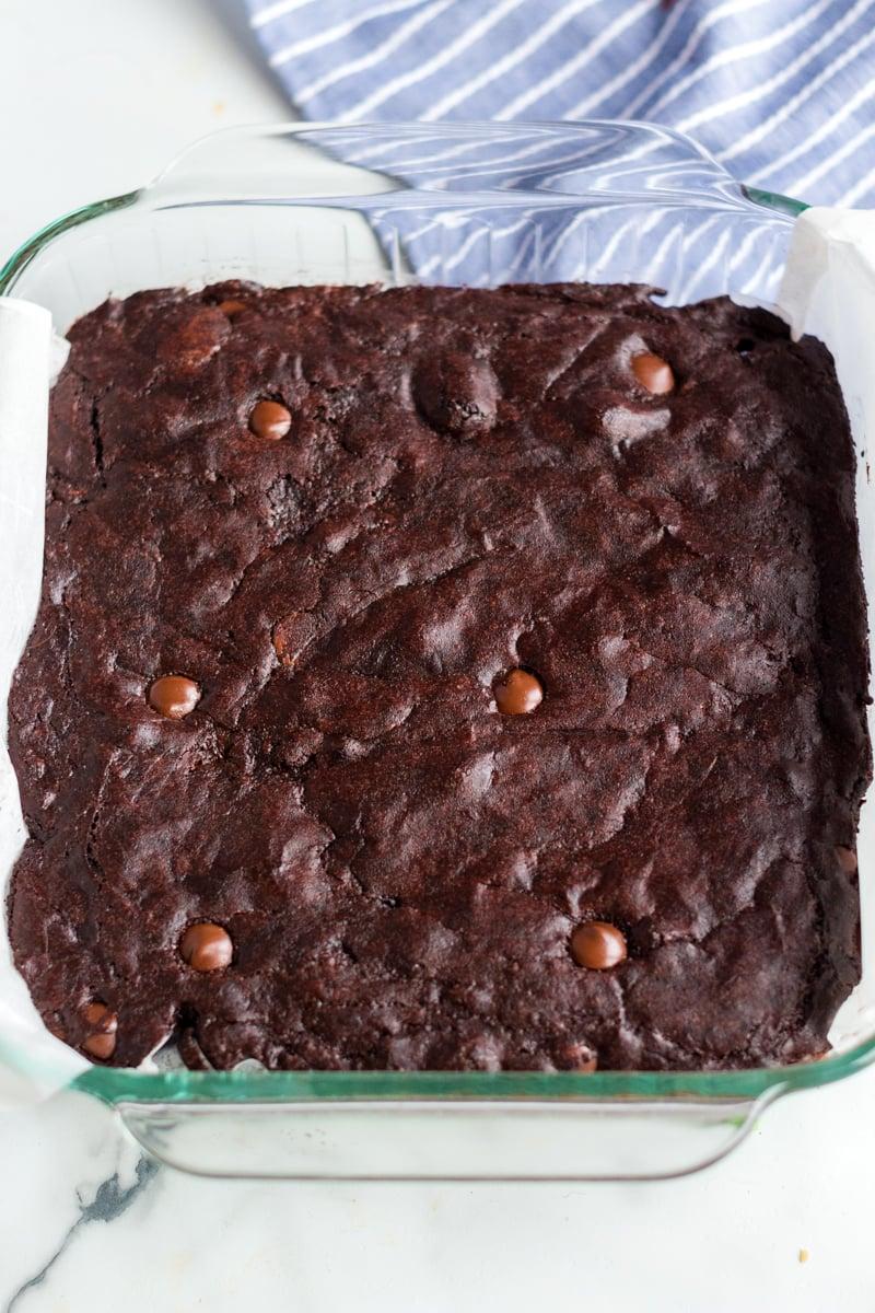 cooling pan of coconut oil dark chocolate brownies