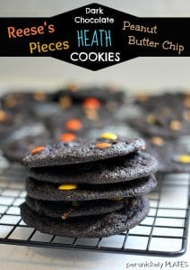 Persnickety Plates: Dark Chocolate Reese's Pieces Heath PB Chip Cookies