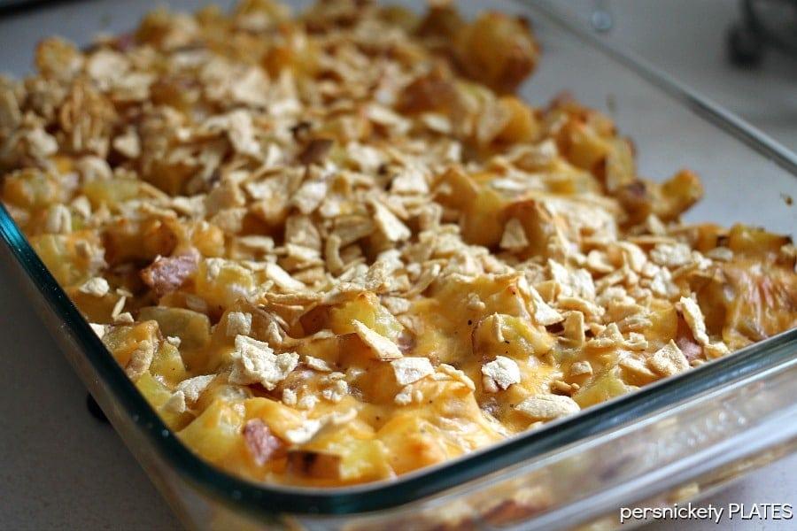 Healthier Cheesy Potato Casserole | Persnickety Plates