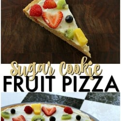 """Sugar Cookie Fruit Pizza -a thin sugar cookie """"crust"""" spread with a cream cheese """"sauce"""" and topped with strawberries, raspberries, kiwi, blueberries, pineapple - whatever fruit you love! 