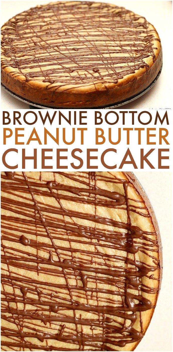Brownie Bottom Peanut Butter Cheesecake has a layer of chewy brownie topped with a creamy peanut butter cheesecake and drizzled with rich chocolate. | www.persnicketyplates.com #cheesecake #peanutbutter #brownie #dessert