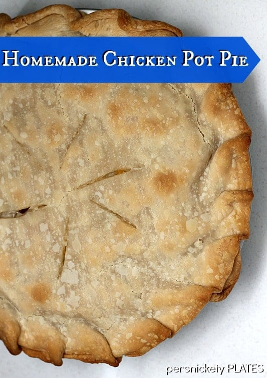 Homemade (but easy!) Chicken Pot Pie is my idea of comfort food! It would also work beautifully if you had turkey leftovers to use up! | www.persnicketyplates.com