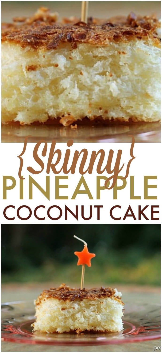 Skinny Pineapple Coconut Cake - four ingredients, one bowl, one spoon and you're on your way to this delicious cake! | www.persnicketyplates.com
